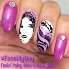 Facial Palsy Awareness Nail Art, using handmade decal of woman  from Pueen stamp # facemyday