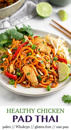 Gluten free healthy chicken pad Thai comes together in 30 minute and is made in one pan. Packed with chicken veggies a delicious pad Thai sauce and uses sweet potato noodles for a paleo and pad Thai. Skip the takeout and make this instead! - Eat the Gains Healthy Pad Thai, Healthy Chicken, Chicken Recipes, Pad Thai Sauce, Sweet Potato Noodles, Veggie Noodles, Chicken Noodles, Chicken Curry, Zucchini Noodles