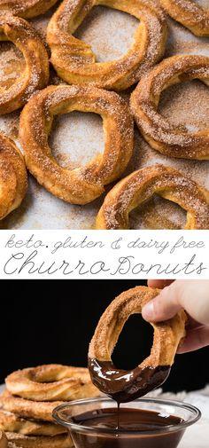 Gluten Free, Dairy Free & Keto Churro Donuts 🍩 Just 1g net carb! #keto #ketodesserts #glutenfree #healthyrecipes