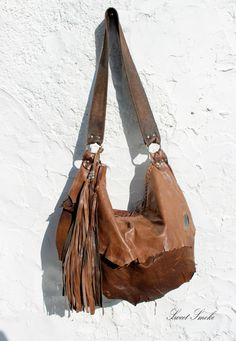 Tribal leather raw edges gypset rusted brown by SweetSmokebags