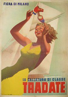 By Gino Boccasile, 1939, Fiera di Milano.  Tradate: The 'class' footwear.