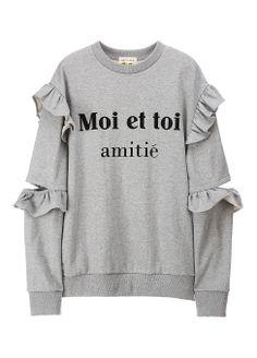 Sleeve slit frill sweatshirts