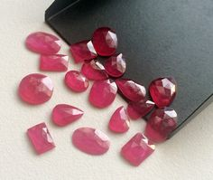 6 Pcs Ruby Chatham Mix Shape Cabochons Red by gemsforjewels