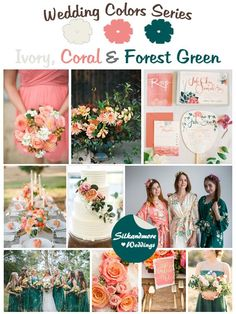 Items similar to Ivory, Coral and Forest Green Wedding Color Bridesmaids Robes - Premium Soft Rayon - Wider Belt and Lapels - Wider Kimono sleeves on Etsy Coral Wedding Colors, Emerald Green Weddings, Wedding Color Schemes, Orange Weddings, Wedding Etiquette, Spring Wedding, Dream Wedding, Unique Weddings, Trendy Wedding