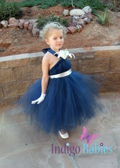 Tutu Dress Wedding Flowergirl Dress Navy Blue by indigobabies, $65.00