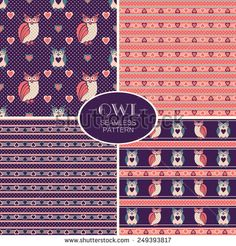 Set of vector seamless patterns with cute cartoon owls, colorful polka and hearts