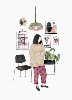 Anália Moraes, girl, sweater, home, lamp, plants.
