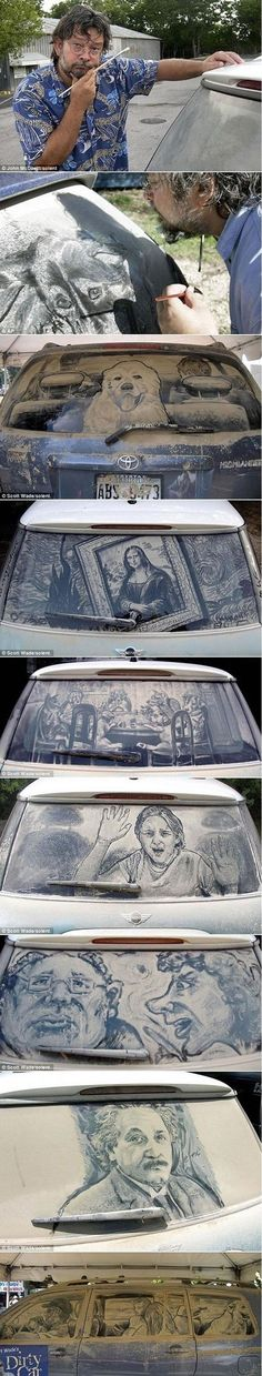 Dirty car windows art... Someone has too much free time!