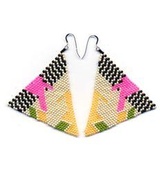 hand beaded pyramid earrings by Brokenfab