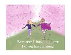 Sister Art Sisters Childrens Wall Art by RoseHillDesignStudio, $20.00