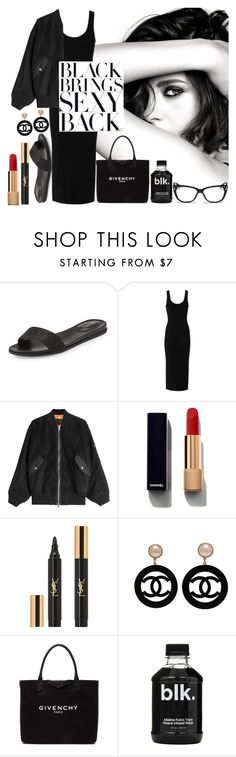"""Black Brings Sexy Back"" by sunslem ❤ liked on Polyvore featuring MICHAEL Michael Kors, Chanel, Enza Costa, Alexander Wang, Yves Saint Laurent, Givenchy, Christian Dior and bomberjackets"