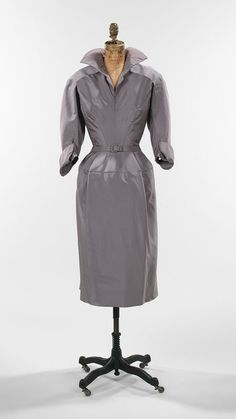 Day dress, gray silk faille, 1952, Housed at The Brooklyn Museum Costume Collection at The Metropolitan Museum of Art, gift of the Brooklyn Museum 2009, gift of Muriel Bultman Francis 1967.