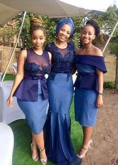 Shweshwe Wedding Traditional Dresses For 2019 ShweShwe 1 African Bridesmaid Dresses, African Wedding Attire, African Dresses For Women, African Attire, African Fashion Dresses, African Wear, Ghanaian Fashion, African Women, Ankara Fashion