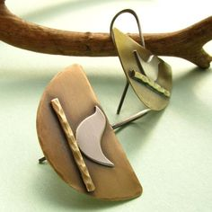 Artisan Brass And Sterling Silver Bird Earrings Mixed by Mocahete