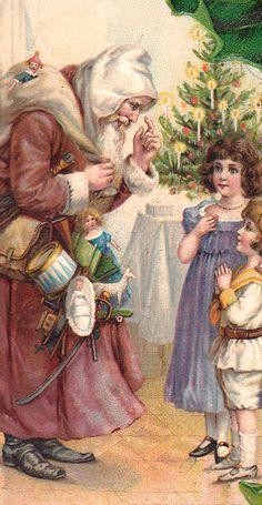 Old World Christmas Postcard French Christmas, Vintage Christmas Images, Purple Christmas, Christmas Past, Victorian Christmas, Father Christmas, Retro Christmas, Christmas Items, Christmas Pictures