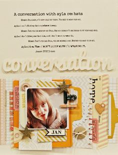 Layout inspiration: Tone on tone title, journaling conversations, scrap layering | Jen Jockisch on TwoPeas