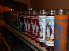San Cipriano Candles (St. Cyprian of Antioch) at Botanica Santa Fe in NM, sharing space with Nino de Atocha and Abre Camino Candles. Saint Cyprian is the saint of mages, occultists, sorcerers, and is widely venerated in Brujeria alongside Santa Muerte, as well as in Brazilian Quimbanda and Espiritismo Venezuelano