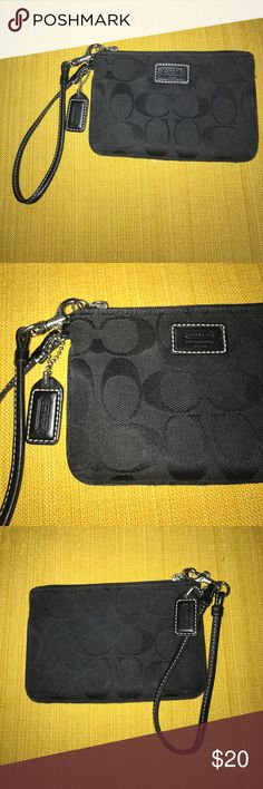 Small Coach Wristlet Small black wristlet from Coach! C pattern. Great condition! Coach Bags Clutches & Wristlets