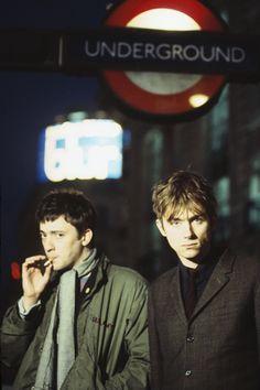 Graham Coxon and Damon Albarn of Blur Damon Albarn, Foo Fighters, Gorillaz, Music Icon, My Music, Rock Music, Bon Jovi, Alter Ego, Blur Band