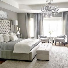 One of the reasons why you need some new master bedroom ideas is because that you might feel bored with your old bedroom design. It's understandable because the bedroom is the room where you may spend… Master Bedroom Design, Home Decor Bedroom, Luxury Master Bedroom, Master Bedroom Chandelier, Beds Master Bedroom, Dream Bedroom, Bedroom Curtains, Bedroom Chandeliers, Simple Bedroom Design