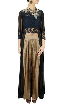 RIDHIMA BHASIN Black cut work embroidered high low sheer jacket with gold pants