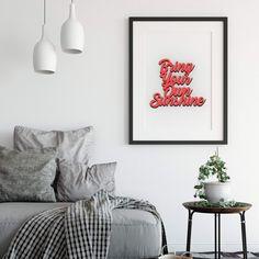 """Der 3D Schriftzug """"Bring your own sunshine"""" – ein ganz individuelles Geschenk für einen besonderen Menschen in Deinem Leben, ein persönliches Dekorationsstatement oder einfach ein schöner Spruch. A Shelf, Shelves, Mindfulness Quotes, Wooden Signs, Sideboard, Decorative Items, Bring It On, Gallery Wall, Colours"""