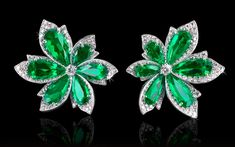 Natural Colombian Emerald & Diamond earrings by David Morris