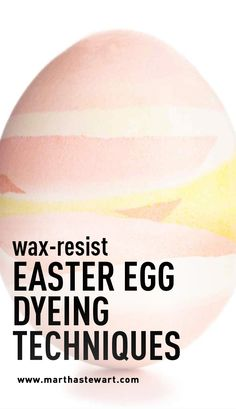 Wax-Resist Easter Egg Dyeing Techniques | Martha Stewart Living - If you draw on eggs with wax and then dip them in dye, the color doesn't adhere to the wax -- so when you melt it away, you reveal the design. Use a stylus to apply wax in refined, precise patterns, or try a crayon for simple motifs.
