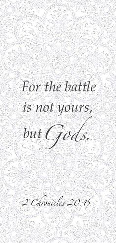 What happens in their life will be out of our control and certain negative things that come up that will threaten their faith or stance in the Lord but the battle is not mine or Antonica it is God's
