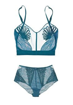 """thedoppelganger: """" Feuillage long-line tulle bra and high waisted briefs, Jean Paul Gaultier for La Perla """""""
