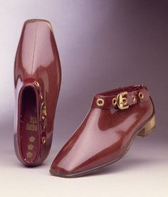Mary Quant, oxblood and gold booties, 1967 - Imagine these with a mini-skirt, which Quant helped popularize; smashing!