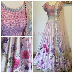 Blushed Blossoms- customise printed lehenga with gold gotha accents and geometrical embroidered blouse