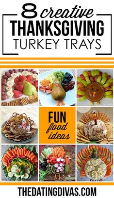 Cute turkey trays to bring to Thanksgiving dinner. Including ideas for fruit trays, veggie trays, and cheese balls.