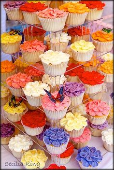 Spring Flowers Cupcake Tower from Cecila King of The Peony Cake Company