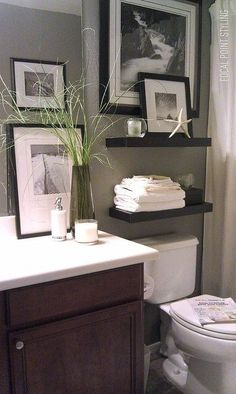 Small bathroom design ideas interior design home design Rental Decorating, Decorating Ideas, Decor Ideas, Decorating Bathrooms, Interior Decorating, Diy Ideas, Decorating Websites, Decorating With Gray Walls, Decorating Bathroom Shelves