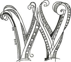 Letter W Zenspirations by Joanne Fink embroidery alphabet Doodle Lettering, Creative Lettering, Script Lettering, Lettering Styles, Calligraphy Letters, Fancy Letters, Monogram Letters, Doodle Alphabet, Embroidery Alphabet