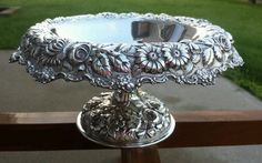 STIEFF Sterling Silver Pedestal Compote Bowl Antique 1936 Hand Chased Rose 16 oz