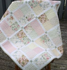 Modern Vintage Baby or Lap Quilt, Pastel Vintage Sheets and Fabric Remnants