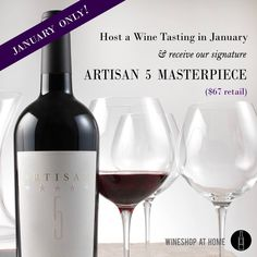 This is an awesome opportunity to sample our premier #wines, our signature award-winning Artisan 5 Masterpiece at no additional cost to your wine sampler-- a $67 value! I have 1/9, 1/15, and 1/16 available for January. Contact me to reserve your date:  shazwinecellar@gmail.com