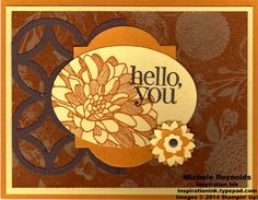 Handmade card by Michele Reynolds, Inspiration Ink, using Stampin' Up! products - Regarding Dahlias Set, Natural Composition Specialty Designer Series Paper, Lattice Bigz Die, Window Frames Collection Framelits, Ovals Collection Framelits, Boho Blossoms Punch, Itty Bitty Shapes Punch Pack, and Candy Dots.