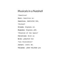 How dare they put my three favorite musicals next to HAMILTON-- Since you guys won't calm down, here's why I don't like Hamilton. The music is played mostly by keyboards, guitars, violins, drums, and pre-recorded things. I am a flute player, so the music doesn't interest me much. Also, the swearing in the lyrics is unnecessary. My little sister is in middle school, and I don't like hearing her swear while singing along to Hamilton.