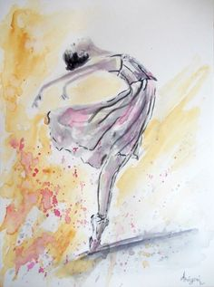 Ballerina 18- Original ballerina watercolor painting