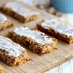 Iced Breakfast Bars...NO added oil, butter, eggs, flour, or refined sugar. {Vegan, Gluten-Free}