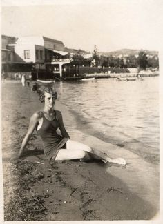 """""""This is my grandmother Giulia on the beach in Sanremo (famous Italian resort in the Riviera Ligure) in 1928. She was 18 and she wore very proudly an outrageous swimsuit. Bye. Maurizia"""""""