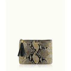 Gigi New York All In One Bag In Gold Wash Embossed Python Leather ($175) ❤ liked on Polyvore featuring bags, handbags, clutches, handbags purses, leather purse, white purse, purse pouch and white hand bags