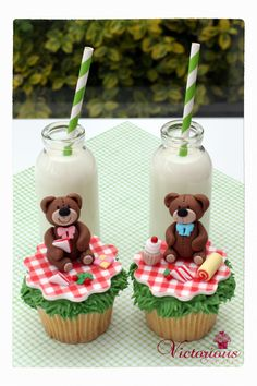 Teddy Bears' Picnic cupcakes. Tutorial can be found in Goodtoknow recipe magazine out in shops now or is available for the tablet.
