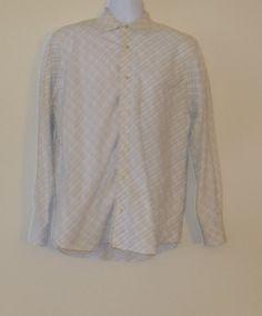 EUC! BANANA REPUBLIC White & Green Plaid Button Up Dress Shirt, M, 15 15.5   $29.99