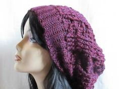 Slouchy Beanie Oversize Crochet Hat in Purple Red by AnaisaKnits for $24.00