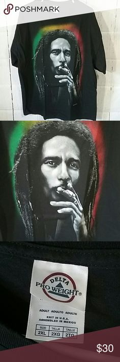 Bob Marley Smokin T-Shirt Bob Marley Smokin T-Shirt Delta Pro Weight Shirts Tees - Short Sleeve