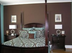 Turquoise and brown bedding is calming and serene in the bedroom ...